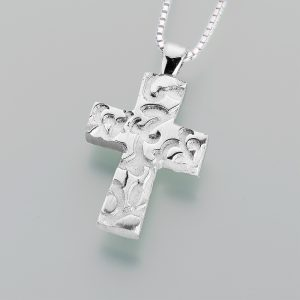 pewter filigree cross
