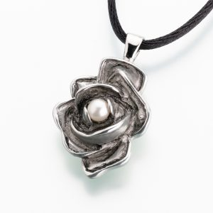 Antique pewter rose w/pearl